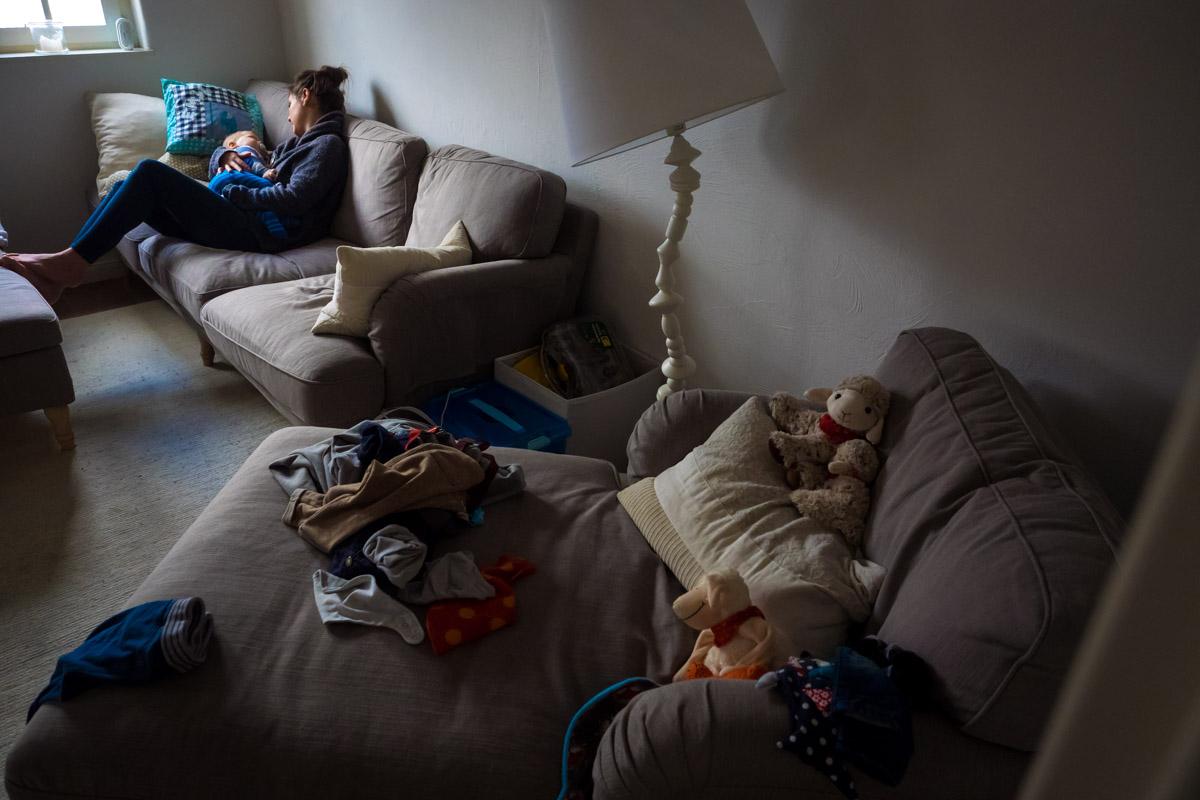 Schlafenszeit für Babys Familienfotos