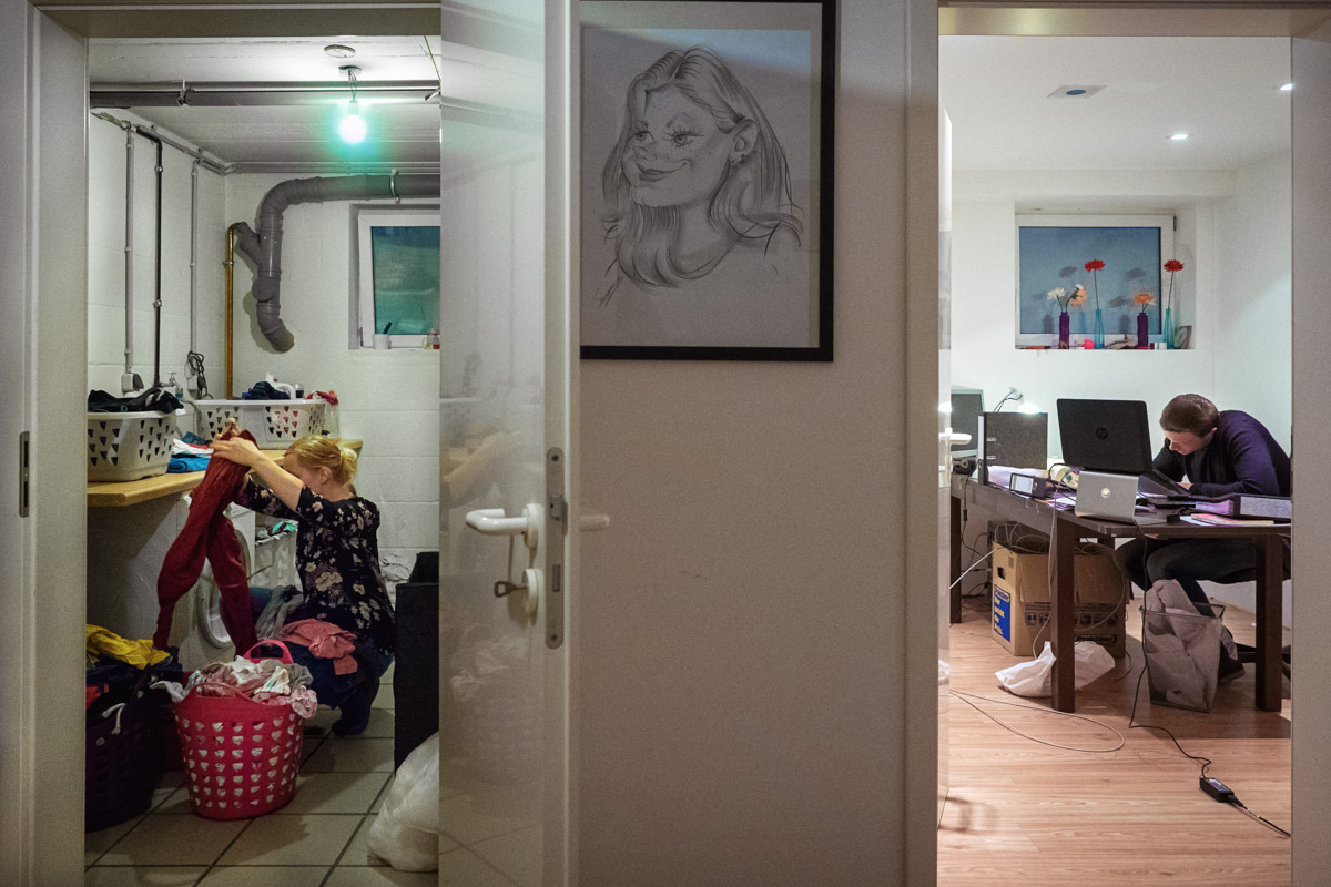 Home office mit Kindern Familienfotos